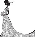 Elegant silhouette of the bride. Wedding background with bride in floral dress in vector Royalty Free Stock Image