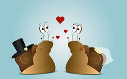 Wedding background of cartoon snails Royalty Free Stock Photography