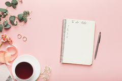 Bridal background with planner checklist Royalty Free Stock Photos