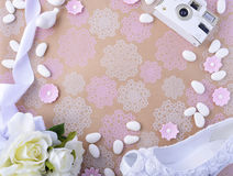Wedding Background with decorated borders Stock Photos