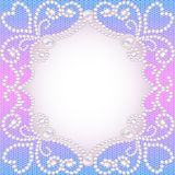 Wedding background with frame ornament with pearls Stock Image