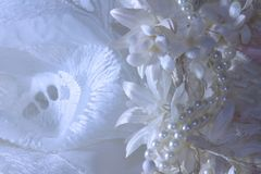 Wedding background with lace, pearls and ribbons. stock photography