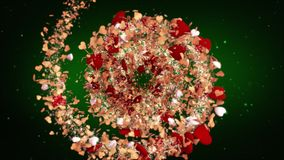 Wedding background loopable red hearts moving towards the center of the screen perfect background for lovers circular. Rotating spiral of gold and red hearts stock footage