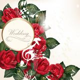 Wedding background with red roses for design. Vector cute red roses in vintage style for design Stock Photo