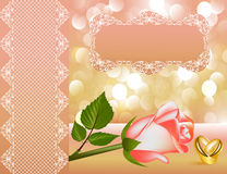 Wedding background with rose by pearl by tape Royalty Free Stock Photography