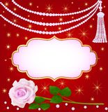 Wedding background with rose and pearls Stock Images