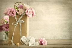 Wedding background with roses flowers and Hearts - vintage styl royalty free stock photography