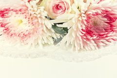 Wedding background with roses and lace. Royalty Free Stock Photography
