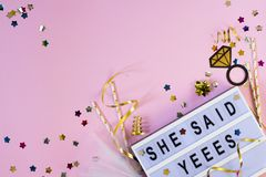 Free Wedding Background. She Said Yes Concept. Flat Lay Royalty Free Stock Photos - 141011368