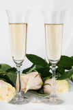 Wedding background with two glasses of champagne, ring and rose Stock Image
