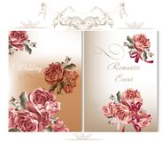 Wedding backgrounds set with roses. Vector cute wedding cards with roses in vintage style for design Stock Photos