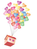 Wedding balloon carried a house Royalty Free Stock Photos