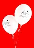 Wedding balloons. Two white wedding balloons W/PATH Royalty Free Stock Images