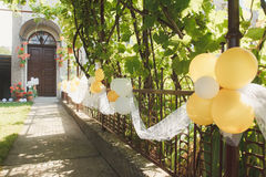 Wedding balloons on the fence Royalty Free Stock Photo