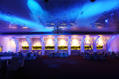 Wedding ballroom, blue color Royalty Free Stock Photo