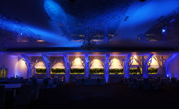 Wedding ballroom, blue color Royalty Free Stock Images