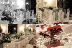 Wedding ballroom tables, multicam, grid 2x2, screen split in four parts stock photography