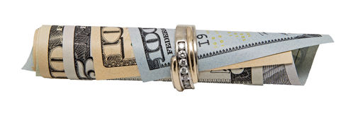 Wedding band banknotes roll Royalty Free Stock Photography