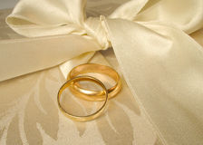 Wedding bands. Set of gold wedding rings Royalty Free Stock Photo