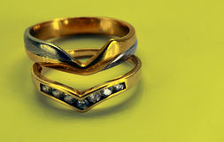 Wedding bands. Wedding band and engagement ring Stock Image