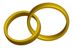 Wedding bands. Golden wedding bands intertwined - clipping path included Royalty Free Stock Photography