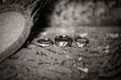 Wedding bands and Engagement Ring Royalty Free Stock Photography