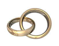 Wedding Bands Gold 3D Love Royalty Free Stock Image