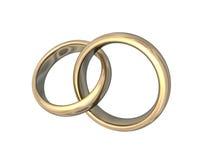 Wedding Bands Gold 3D Love. 3d illustration looks golden wedding bands on white background Stock Photos