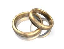 Wedding Bands Gold 3D Love. 3d illustration looks golden wedding bands on white background Royalty Free Stock Image