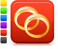 Wedding bands icon on square internet button Royalty Free Stock Images