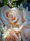 Wedding Rings on Pink Roses of Bridal Bouquet Royalty Free Stock Images