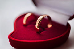 Wedding bands, wedding rings in the red box Stock Photos