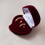 Wedding bands, wedding rings in the red box, wedding jewelry Royalty Free Stock Images