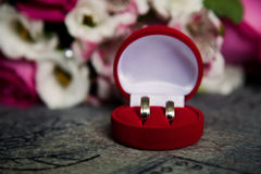 Wedding bands, wedding rings in the red box, wedding jewelry Royalty Free Stock Photo