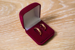 Wedding bands, wedding rings in the red box, wedding jewelry Stock Image