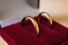 Wedding bands, wedding rings in the red box, wedding jewelry Stock Images