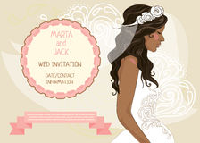 Wedding banner with beautiful bride, invitation for bridal shower. Vector illustration Stock Image