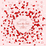 Wedding banner over scattered red and pink hearts Royalty Free Stock Photos