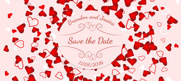 Wedding banner over scattered red and pink hearts Royalty Free Stock Image