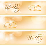Wedding banner with the wedding rings Royalty Free Stock Image