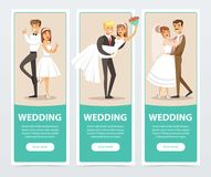 Wedding banners set, happy just married couples flat vector elements for website or mobile app Royalty Free Stock Images