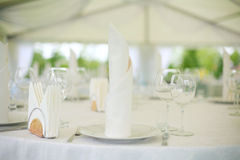 Wedding banquet. Elegant tables  set up for a wedding banquet Royalty Free Stock Images