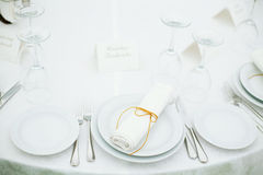 Wedding banquet. Elegant tables set up for a wedding banquet Stock Image