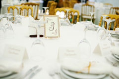 Wedding banquet. Elegant tables  set up for a wedding banquet Royalty Free Stock Photography