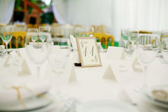 Wedding banquet. Elegant tables  set up for a wedding banquet Royalty Free Stock Photo