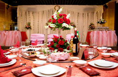 Wedding Banquet. Table setting at a luxury wedding banquet stock photos