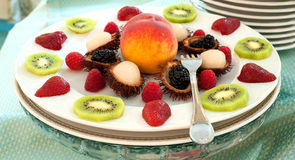 Wedding banquet. Some decoration with fruit during a wedding banquet royalty free stock photography