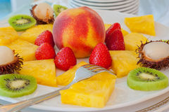Wedding banquet. Some decoration with fruit during a wedding banquet stock photo