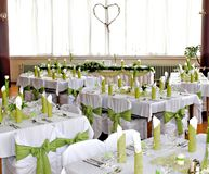 Wedding banquet. In green color stock photography