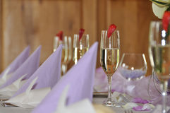Wedding banquet. Prepared wedding banquet on table in violet and white colors Royalty Free Stock Photography